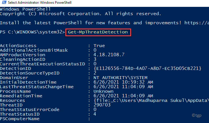 Windows Powershell (admin) Run Command To View Active Or False Malware Findings Enter Min