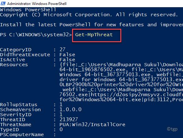 Windows Powershell (admin) Run Command To View List Of Threats Enter Min