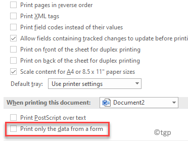 Word Options Advanced When Printing This Document Print Only The Data From A Form Uncheck
