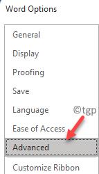 Word Options Left Side Advanced