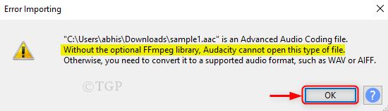 Ffmpeg Lib Missing Error Audacity
