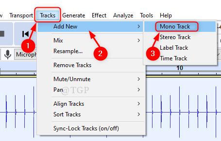 Generate New Mono Track Audacity Min