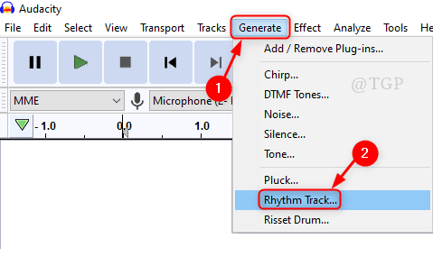 Generate Rthym Track Audacity Min