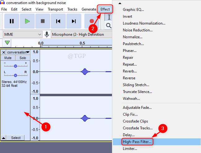 High Pass Filter Audacity Min