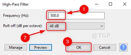 High Pass Filter Window Audacity