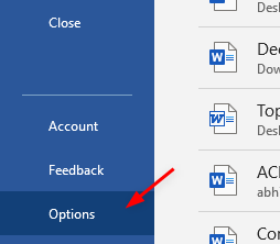 Ms Word File Options