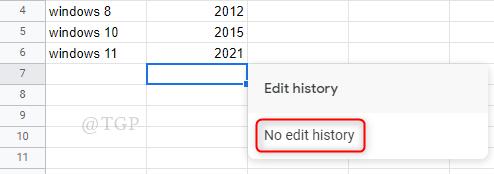No Cell Edit History Google Sheets