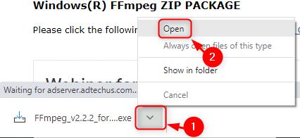Open The Installer Ffmpeg Lib