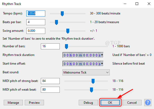 Rhythm Track Window Audacity Min
