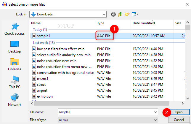 Select Aac Audio File Audacity Min