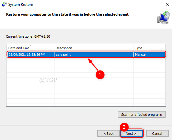 Select Sys Restore Point Min