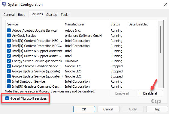 System Configuration Services Hide All Microsoft Services Check Disable All Min
