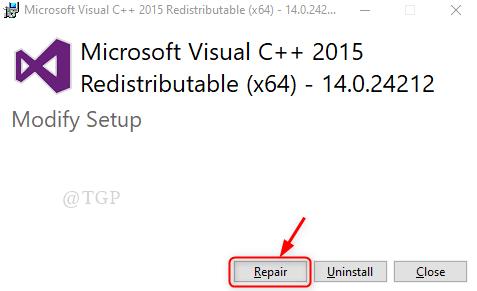 Visual C++ Repair Window