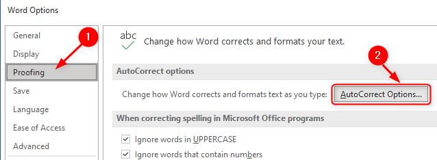 Word Proofing Autocorrect