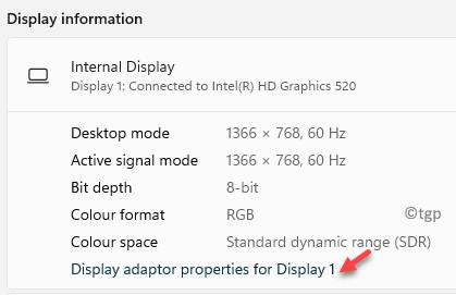 Advanced Display Display Information Display Adaptor Properties For Display 1