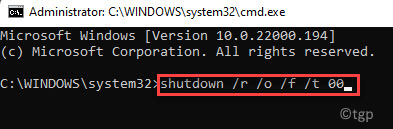 Command Prompt (admin) Run Command To Boot Into Advanced Startup Mode Enter Min