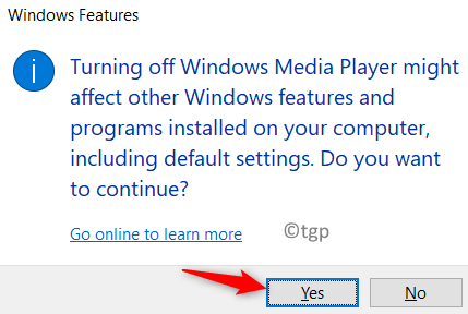 Confirm Turn Off Windows Features Min