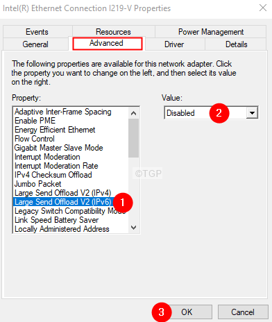 Disable Large Send Offload Ipv6
