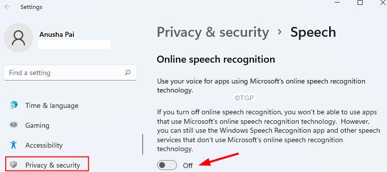 Disable Speech Recognition Min