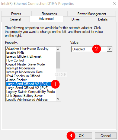 Disable The Large Send Offload Ipv4