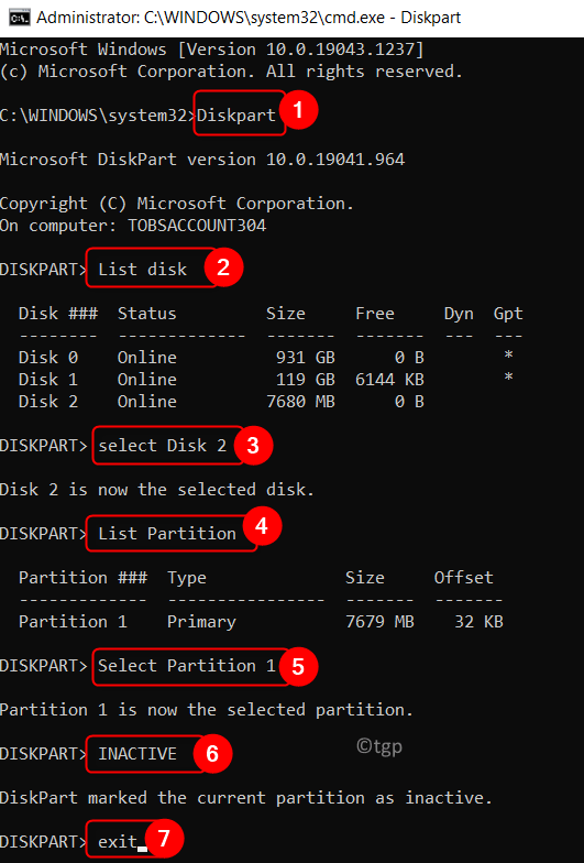 Diskpart Command Execution Make Usb Inactive Min