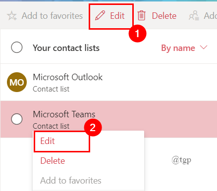 Editing Contact Online Outlook