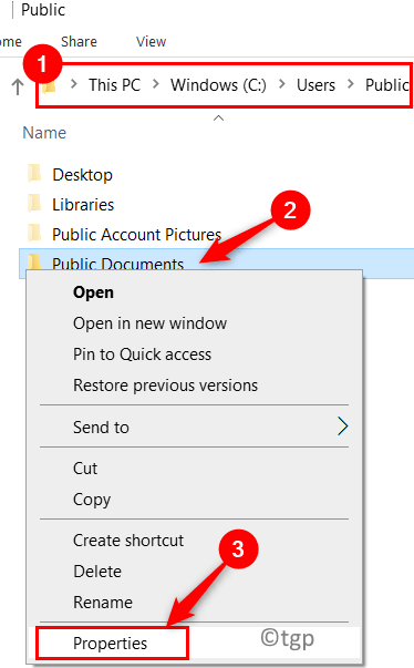File Explorer User Public Documents Properties Min