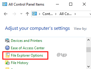 File Explorerer Options Min