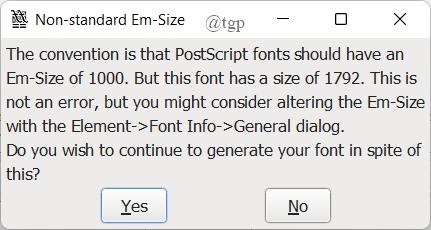 Fontforge Error