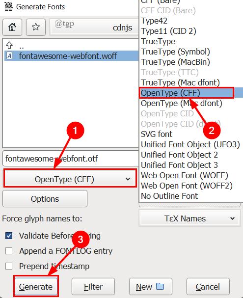 Fontforge Select Otf