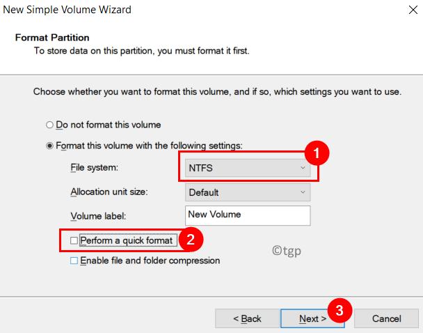 Format Partition Options Min