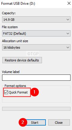 Format Window Quick Scan