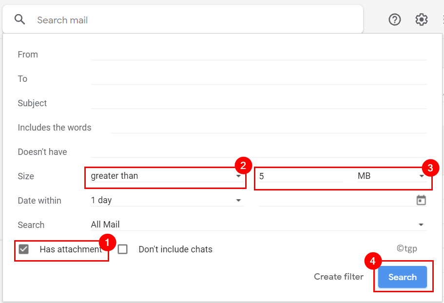 Gmail Select Search Filter Has Attachment Size Min