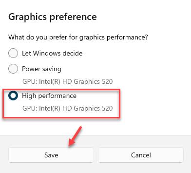 Graphics Preference High Performance Save