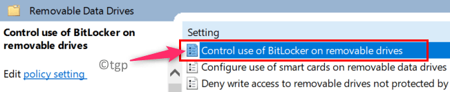 Group Policy Editor Removable Data Drives Control Use Of Bitlocker Min