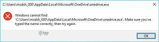 Onedrive Error Message