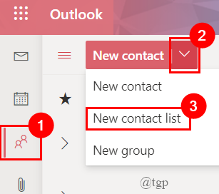 Outlook Online Contact List