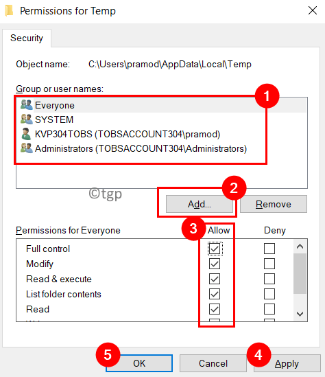 Permissions Temp Folder Allow Full Control Min