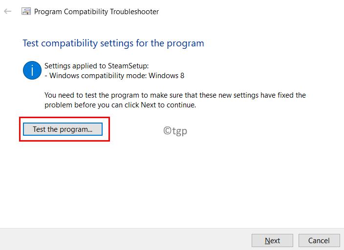 Program Compatibility Troubleshooter Test Settings Program Min