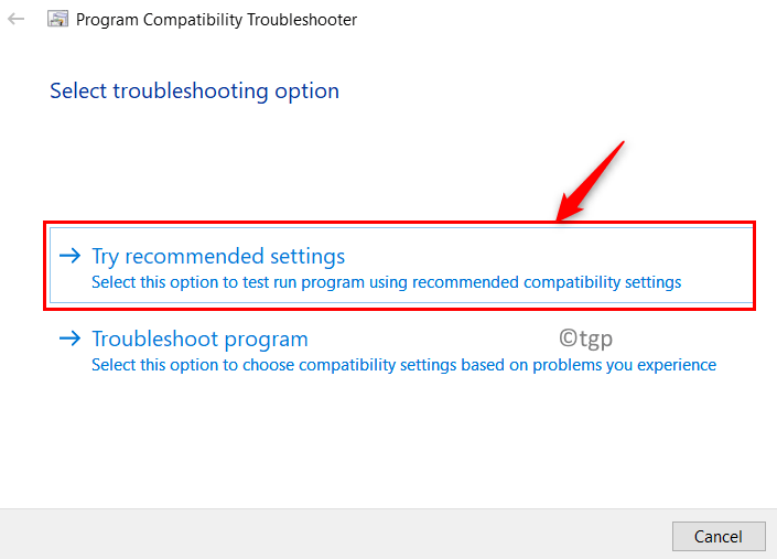 Program Compatibility Troubleshooter Try Recommended Settinga Min
