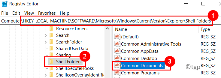 Registry Shell Folder Common Documents Min