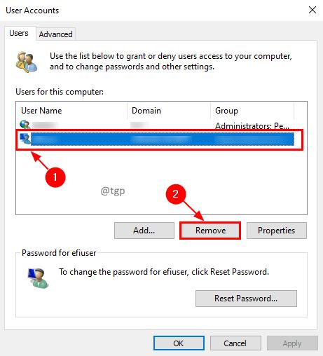 Remove Account Min