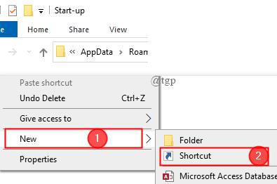 Shell Startup Create Shortcut