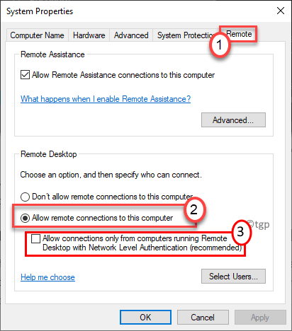System Properties Allow Remote Connections Min