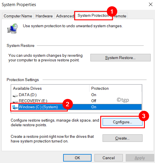 System Properties Protection Configure Button Min