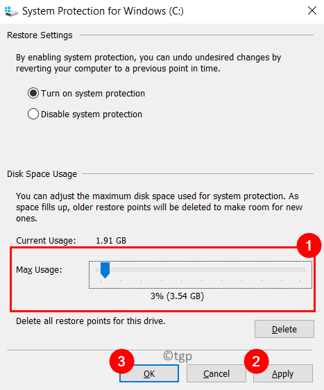 System Protection C Drive Disk Space Usage Settings Min