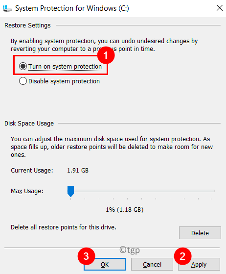 System Protection C Drive Enable Min