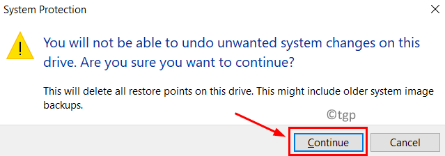 System Protection Confirm Delete Restore Point Min