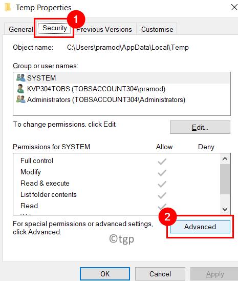 Temp Properties Security Advanced Min