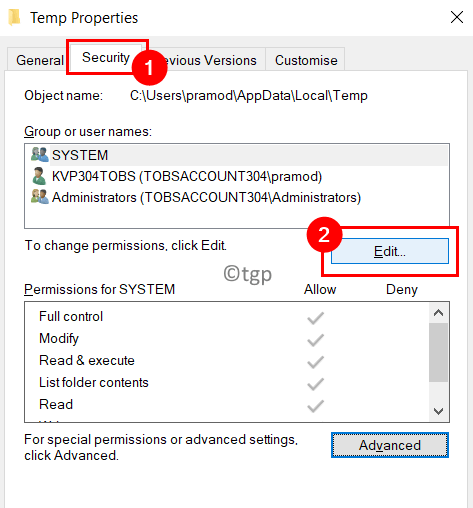 Temp Properties Security Edit Select User Min